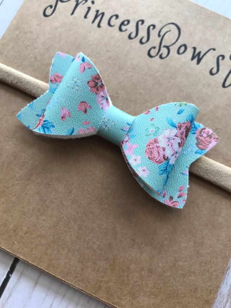 Baby Girl Nylon Headband Hair Bows Baby Headband Baby Girl Floral Headband Toddler Bows Infant Headband Baby Floral Bow Nylon Headband
