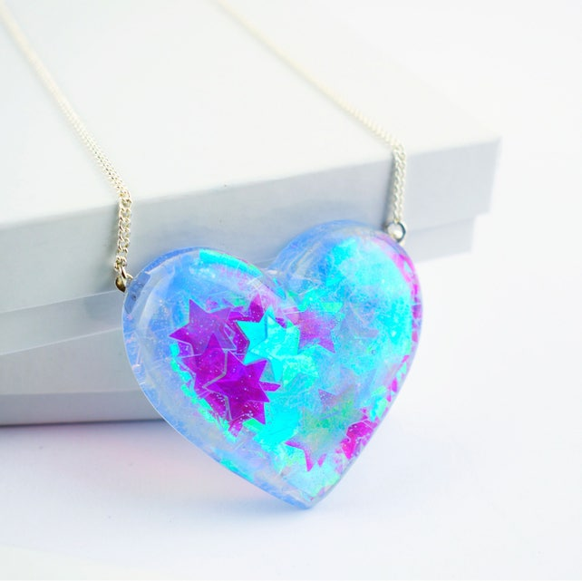 Holographic iridescent stars heart shaped pendant necklace etsy image 0 aloadofball Image collections