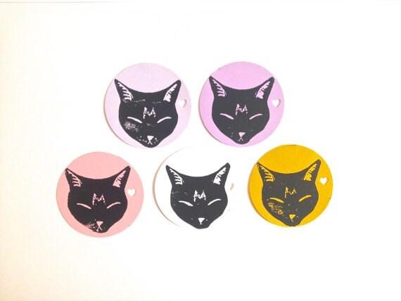 Cat Gift Tags 25 Black Sleeping Circle Blank Tags Gift Tags Etsy