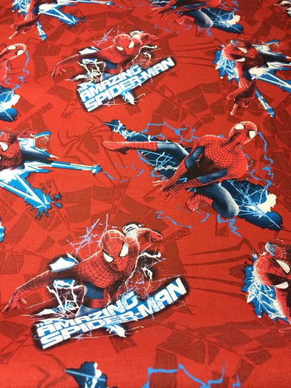Spiderman Baumwolle Stoff Spiderman Electric Toss rot 100 % | Etsy