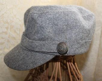 15c6ca60fd2d8 Vintage 1950s 1960s WOOL NEWSBOY CAP Hat, 22 1/2-Inch Interior.