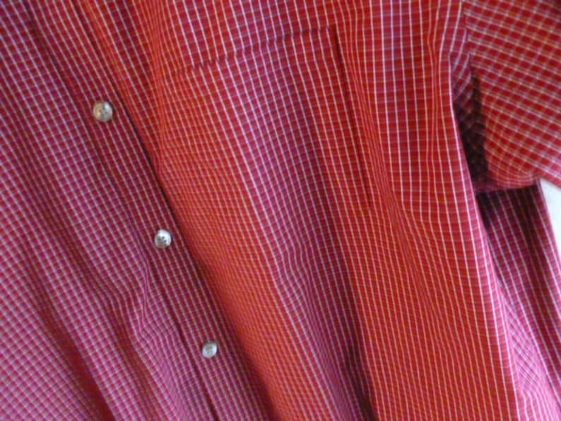Vintage COTTON BLEND SHIRT Men/'s Size Large 16  16 12 Short Sleeve Hardly Worn Red White Tattersall Check Casual Dress Office Business