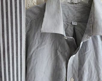 Vintage GRAY & WHITE PINSTRIPE Shirt, Men's Size 18, 34/35, Extra Extra Large xxl 2x xl 3x, French Cuffs  Office Prep School Work Business