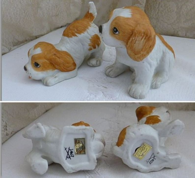 1970s 1980s Vintage HOMCO SPANIEL PUPPY Figurines Home Decor Retro Traditional Dog Canine Hunting Upland Set of Two Ceramic Porcelain