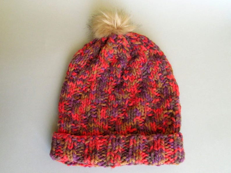 c13cd43e51a91 Hand knit beanie Bulky pompom hat Knitted hats Multicolor ski