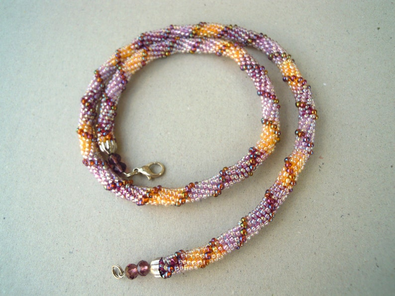 Purple yellow brown crochet rope necklace Seed bead jewelry Beaded necklace Ready to ship Gift for her Purple yellow necklace