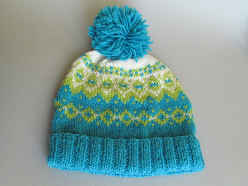 d462829f6523e Fair isle winter hat Pompom hat Knit hats Turquoise lime green