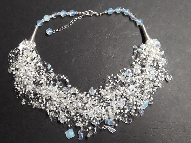 Ready to ship Crocheted airy necklace Multi strand opal necklace Gemstone necklace Handmade wedding jewelry Gift for her