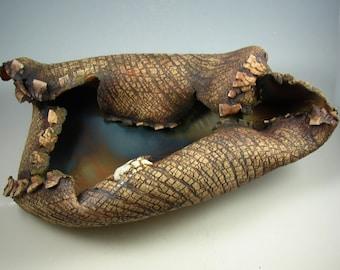 "Ceramic Art Sculpture  – ""Forest Floor Leaf""   – Handmade Centerpiece – Wheel Thrown Stoneware Art – Unique Pottery - Ready to Ship"