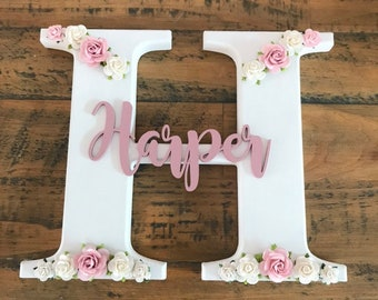 Wooden Home Letter Floral Print Free Standing Wooden Letters New Decor Gift