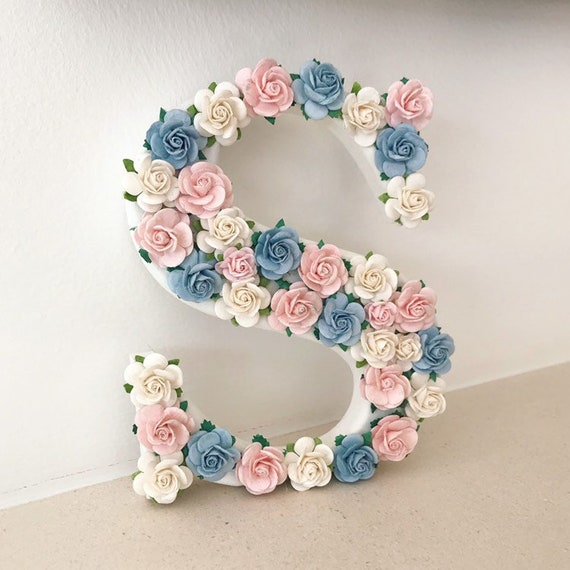 floral personalised freestanding wooden letter 30cm rose decoration