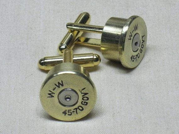 Wedding Cuff Links Gifts Bullet Cufflinks 45-70 Government Brass