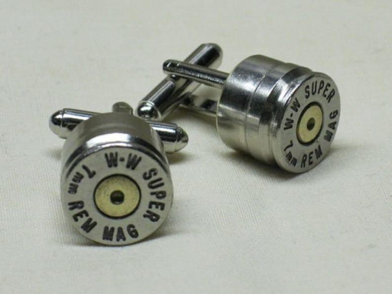 Bullet Cufflinks 7mm Remington Magnum Nickel Wedding Gift Cuff Links for Groomsmen