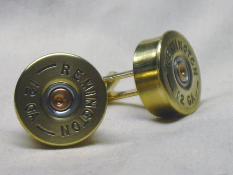 Mens Wedding Cufflinks or Anniversary Gift Cufflinks Shotgun Shell Cufflinks Remington 12 Ga Brass Gold Tone