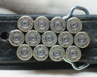 308 Winchester Bullet Belt Buckle Brass Straightline Belt Buckle 2 3/8 x 1 1/4 Inches