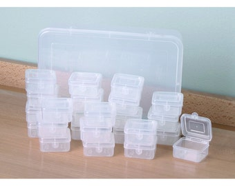 Small Plastic Transparent Storage Box with Lid Jewelry Card Bead Container Case