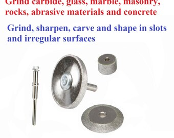 A Diamond Rotary Tools drill Large Grinding Wheels Set 4pc Kit hobby and craft grind grinder discs material detail work indoor outdoor tool