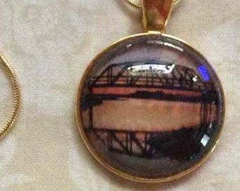 North Carolina - Railroad Bridge - Gateway to Topsail Island - necklace/pendant