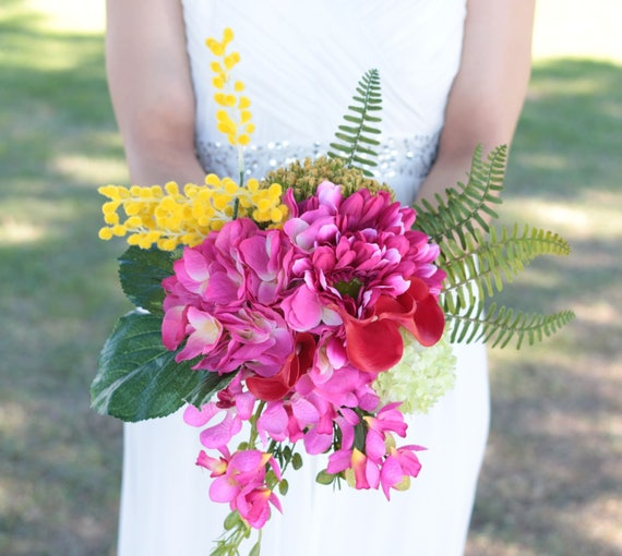 Silk Touch Tropical Hot Pink Wedding Bridal Bouquet And Etsy