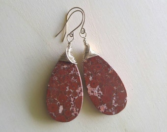 Oblicular Phyolite and Sterling Silver Earrings