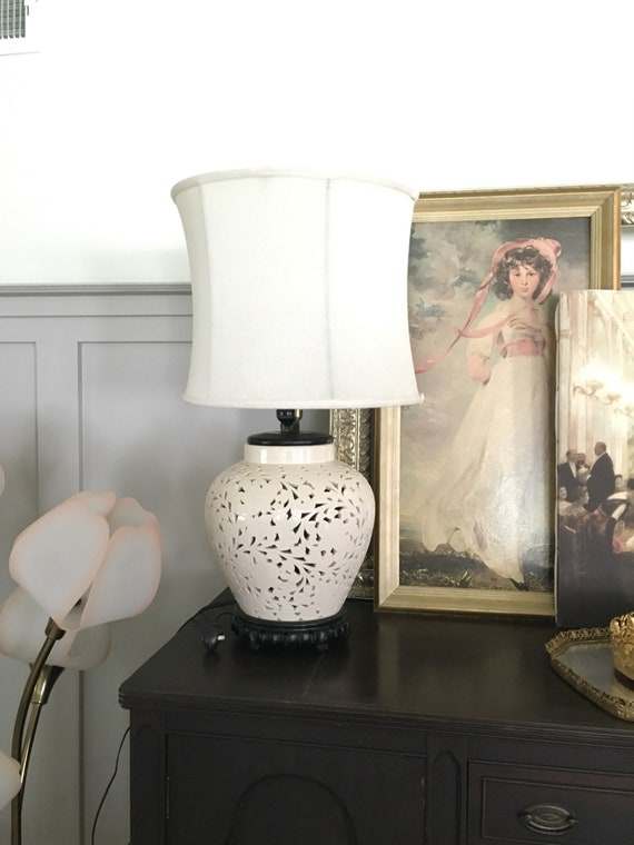 Blanc De Chine Lamp White Lattice Ceramic Asian Style Lamp Etsy