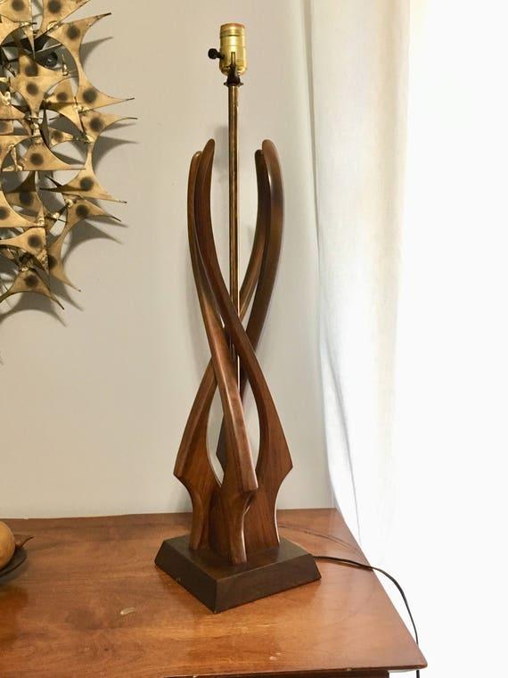 Danish Modern Sculptural Teak Table Lamp Tall Mid Century Etsy