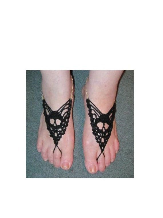 Skull barefoot sandals Black welastic chain (gold, silver or black) heel strap