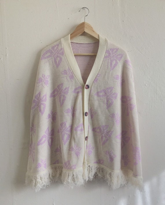 Vintage Butterfly Knit Cape | 70s Purple Sweater C