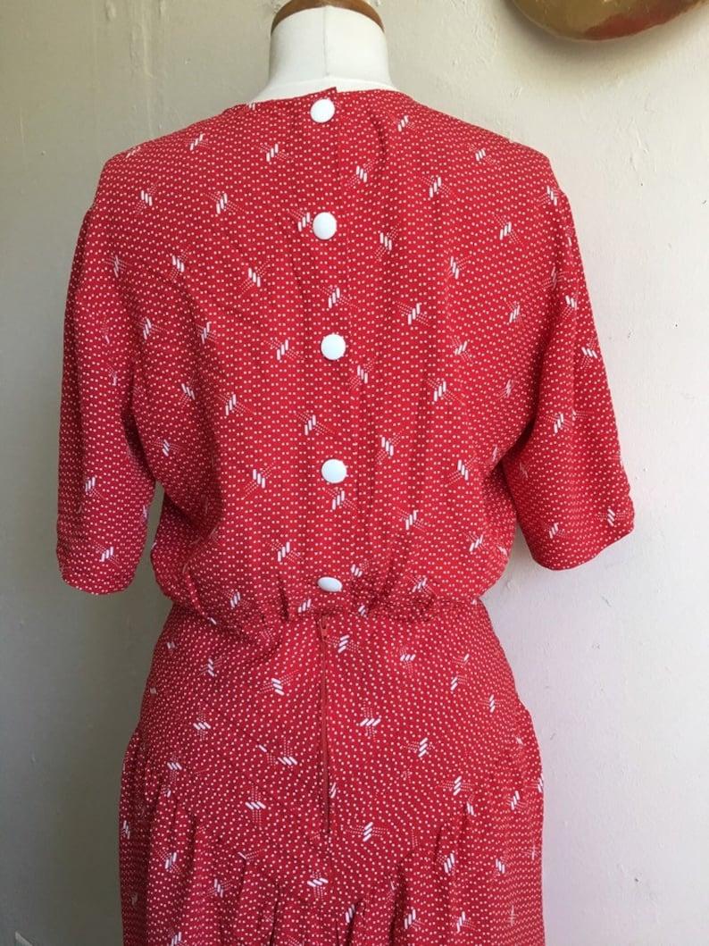 Vintage Belinda Dress 80s does 40s Red Pinup Button Back Dress