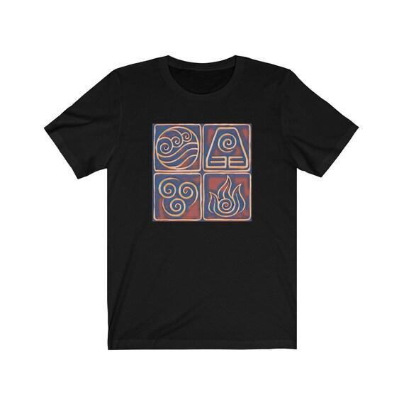Avatar T-shirt Airbender Elements Aang Korra Anime Printed Unisex Gift Tee Top T