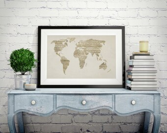 World music map etsy map of the world map from old sheet music art print canvas art original artwork musical notes map of the world wall art canvas old style gumiabroncs Choice Image