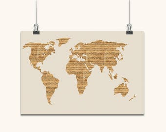 Old sheet music etsy map of the world from old sheet music art print canvas art original artwork musical notes map of the world art canvas old style gumiabroncs Choice Image