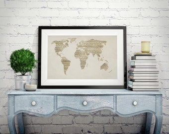 Old sheet music etsy map of the world map from old sheet music art print canvas art gumiabroncs Gallery