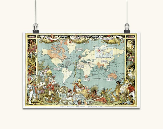 World Map British Empire Old Maps Framed World Map Map Of The Etsy