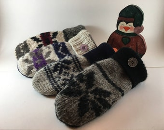WOMENS felted WOOL MITTENS