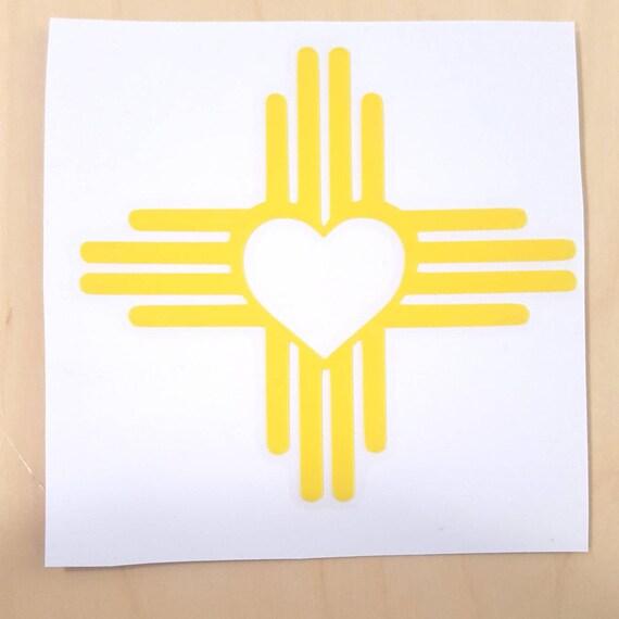 4 Zia Symbol Heart Vinyl Decal Etsy