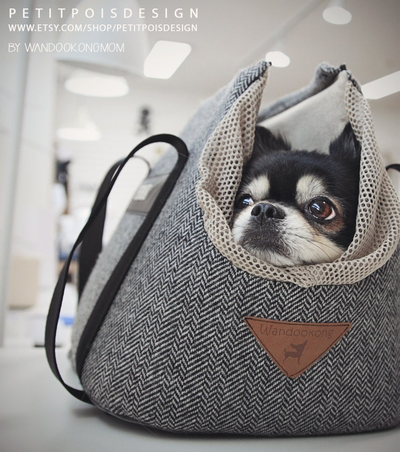 Pet carrier Dog carrier: The Herringbone customized NAMETAG image 0
