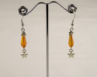 crystal drop earrings with star