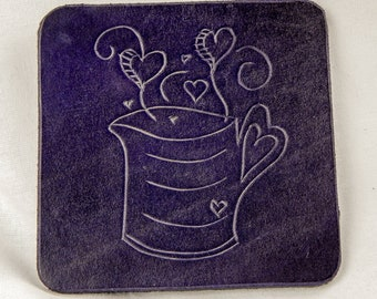 Purple leather mug / heart coaster