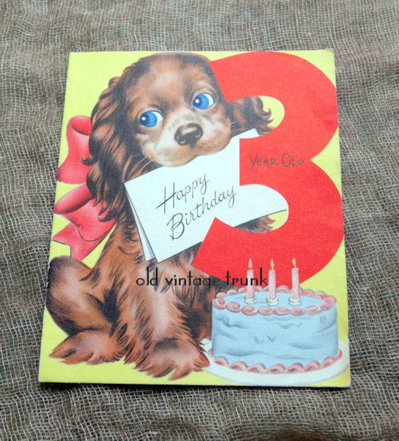 Vintage Happy Birthday 3 Year Old Puppy Dog Cake Card