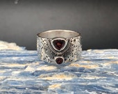 Textured Garnet Band Ring 925 Sterling Silver Oxidized Textured Garnet Ring Wide Band Amethyst Ring