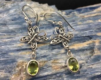 Dangly Butterfly Peridot Earrings // 925 Sterling Silver // Hypoallergenic // Hook Backing