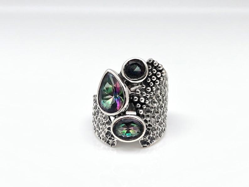 Multi-Stone Mystic Topaz Ring Size 7  925 Sterling Silver  Oxidized Beaded Mystic Topaz Ring