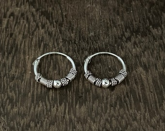 Bali Design Small Hoop Earrings // 925 Sterling Silver // Oxidized