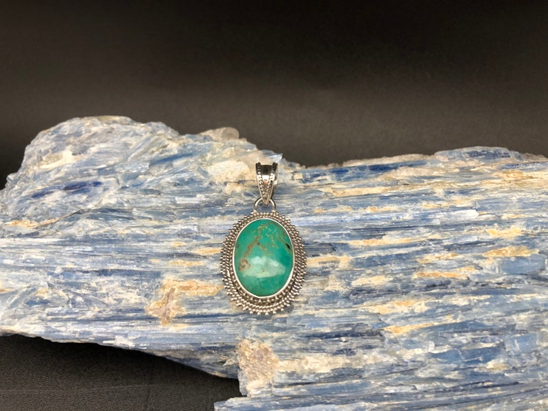 Turquoise Pendant  Oval Beaded Bali Setting  Sterling Silver  Turquoise Jewelry
