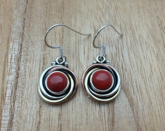 Red Coral Earrings // 925 Sterling Silver with Gold Plating // Circular Design