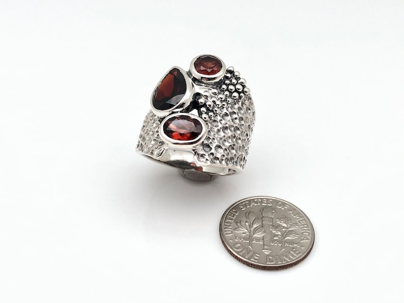 Multi-Stone Garnet Ring  925 Sterling Silver  Oxidized Beaded Silver Garnet Ring