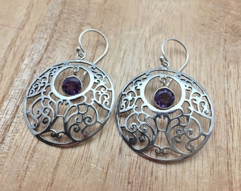 Dangly Amethyst Circle Swirl Earrings // 925 Sterling Silver // Bali Setting // Hook Backing