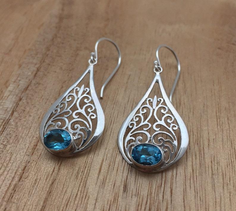 Blue Topaz Swirl Earrings // 925 Sterling Silver // Bali image 0
