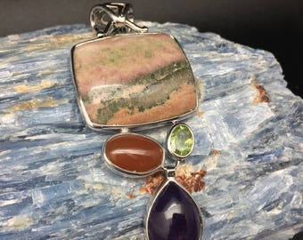 Multi Stone Pendant // Jasper, Amethyst, Peridot and Carnelian Pendant // 925 Sterling Silver // Non Tarnishing Rhodium Finish
